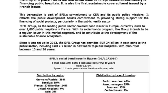 Resounding success of SFIL's first social bond issue, exclusively dedicated to public hospital financing